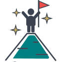 stylized figure graphic standing on mountain holding flag